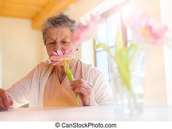 Senior woman - Beautiful senior woman holding a pink flower.