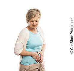 Senior woman with stomachache, isolated on white background