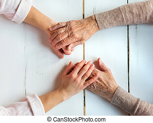 Senior woman - Unrecognizable grandmother and her...