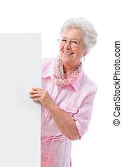 senior woman - senior  woman with a cardboard