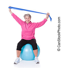 Senior Woman Stretching Exercising Equipment