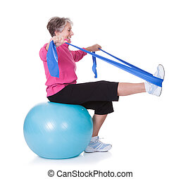 Senior Woman Stretching Exercising Equipment On White Background