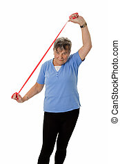 Senior woman stretching