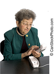 senior woman telephone