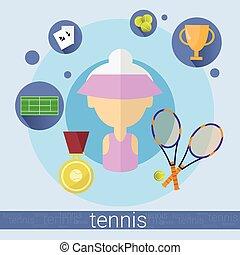 Senior Woman Tennis Player Icon