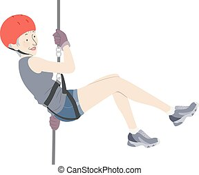 Illustration of a Senior Woman Wearing Helmet and Rope Rappelling