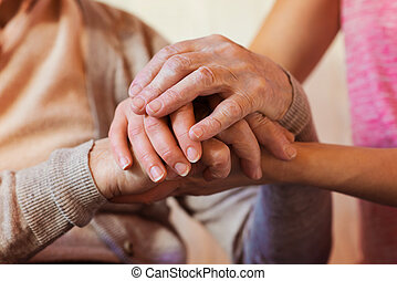 Senior woman - Unrecognizable grandmother and her ...