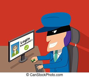 Senior woman was hacked account by hacker, vector