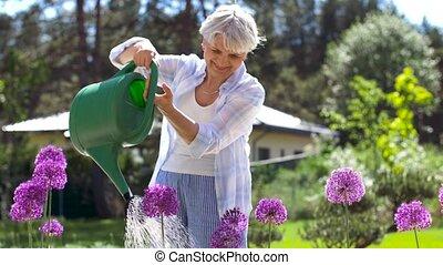 senior woman watering flowers at summer garden - gardening...