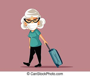 Senior Woman Wearing a Mask Traveling with Luggage