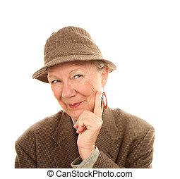 Senior Woman Wearing Male Clothing