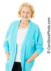 Senior Woman Wearing Sweater Over White Background