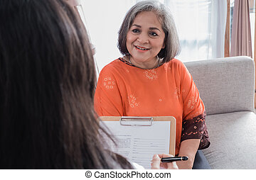 senior woman while in doctor office. medical check