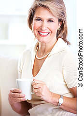 Senior woman with a cup of tea.
