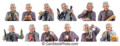 senior woman with a group of food on white background
