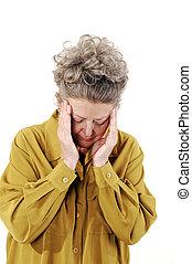 Senior woman with a headache.