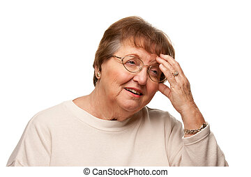 Senior Woman with Aching Head on White