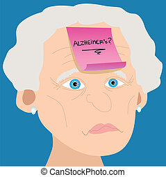 Senior woman with Alzheimer sticky note - Memory loss or...