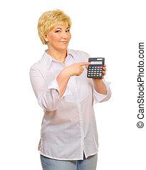 Senior woman with calculator