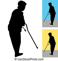 Senior Woman With Cane - An image of a senior woman using a...