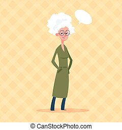 Senior Woman With Chat Bubble Modern Grandmother Full Length...