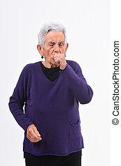 senior woman with cough on white background