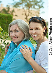 Senior woman with daughter