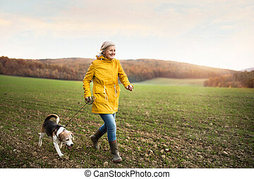 Senior woman with dog on a walk in an autumn nature. -...