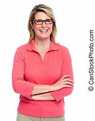 Senior woman with eyeglasses.