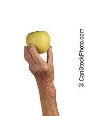 Senior woman with fruit in hand isolated on white background, apple