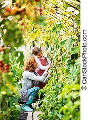 Senior woman with grandaughter gardening in the backyard...