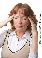 senior woman with headache isolated