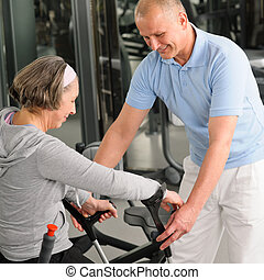 Senior woman with help of physiotherapist - Senior woman...