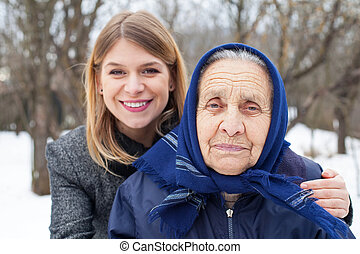 Senior woman with her caretaker