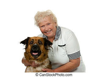 Senior woman with her dog on white backgound