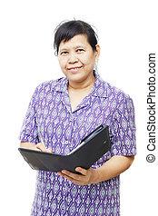 Senior woman with organizer