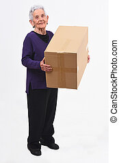senior woman with package on white background