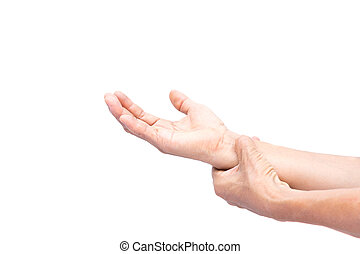 Senior woman with painful wrist isolated