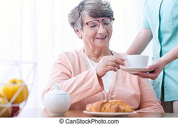 Senior woman with positive attitude