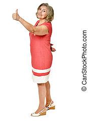 Senior woman with thumb up