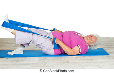 Senior woman with vitality exercising - Overweight senior...