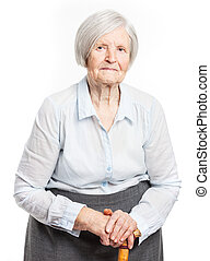 Senior woman with walking stick