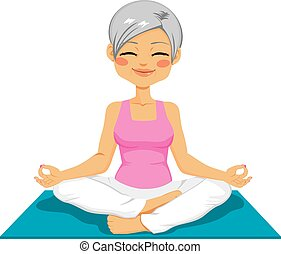 Senior Woman Yoga - Mature senior woman practicing zen...