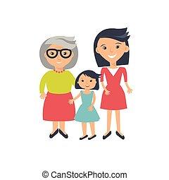 senior women, évek, három, gyermek