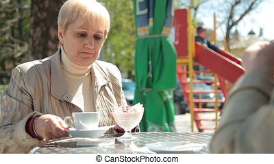 Senior Women Enjoying Dessert