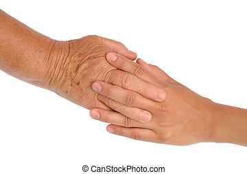 senior women, fiatal, kézbesít