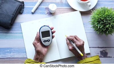 Senior women holding glucose meter and writing on a planner ,
