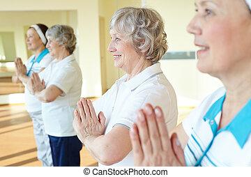 Senior women in gym