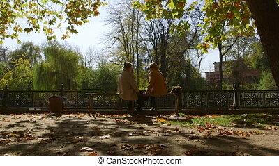 Senior women sitting on a bench
