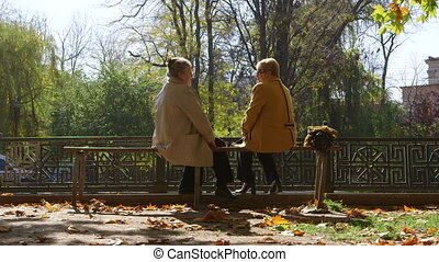 Senior women sitting on a bench